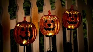 Halloween Yard Stake Lights by Lighted Pumpkin Yard Stakes Outdoor Halloween Decoration