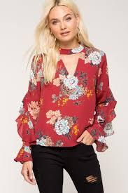 women u0027s blouses ezra floral ruffle blouse a u0027gaci