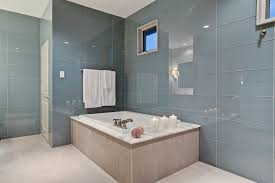 large glass tile bathroom contemporary with alcove shower