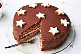 winter cake with marzipan mulled cherries