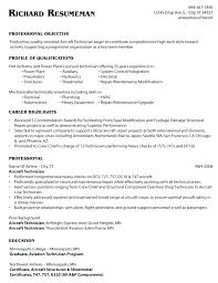 Aircraft Mechanic Resume Objective Sample Free For Auto Template Example Examples