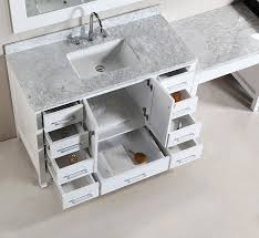two 48 london single sink vanity set in white with one make up