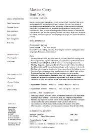 Sample Resume Format For Banking Sector Bank Teller Example Template Job Description Cash