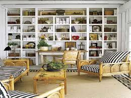 Full Wall Shelves Ideas with wricker chairs