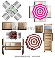 Outdoor Furniture Top View Set 18 For Landscape Design Vector Illustration