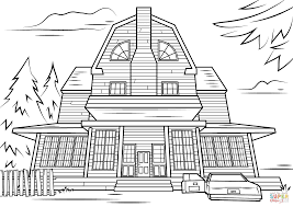 Haunted House Coloring Page Scary Free Printable Pages Line Drawings