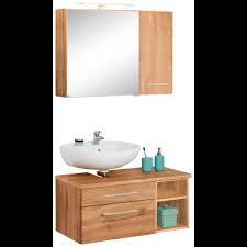 held möbel badmöbel set davos 3 tlg bad spiegelschrank mit led beleuchtung hängeschrank und waschbeckenunterschrank