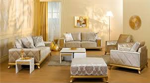 4 Brown Cream Sofa Set Armchair Living Room