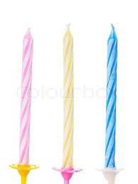 Closeup view of three colorful birthdays candle Stock