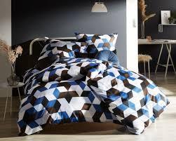 moderne mako satin bettwäsche 200x220 geometrisch blau braun