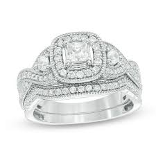 1 CT T W Princess Cut Diamond Frame Vintage Style Bridal Set in