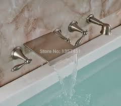 wall mount waterfall bathtub faucet brushed nickel mixer tap with