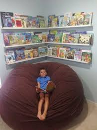Reading Nook Corner For Kids Room Ikea Ribba Photo Ledges As Book Shelves Front Facing Display Plus Bean Bag Chair The LoveSac