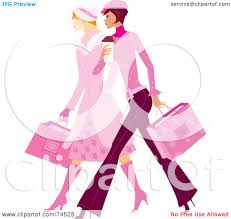 royalty free rf clipart illustration of two stylish ladies in