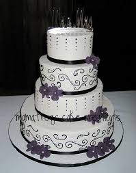 Beautiful Black White And Purple Wedding Cake Provided By Mon Petite
