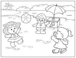 Fisher Price Playing Ball On The Beach Coloring Pages For Kids Printable