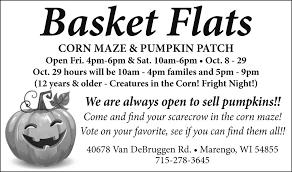 Pumpkin Patch Rice Lake Wi by Corn Maze And Pumpkin Patch Basket Flats