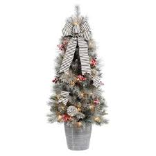 Potted Christmas Tree by Porch Potted Christmas Trees Artificial Christmas Trees Loccie