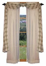 Country Window Treatment Primitive Curtains Rustic Living Room