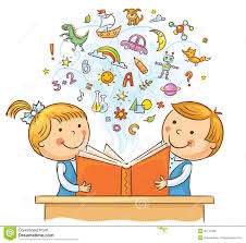 Children Reading A Book To her Stock Vector Illustration