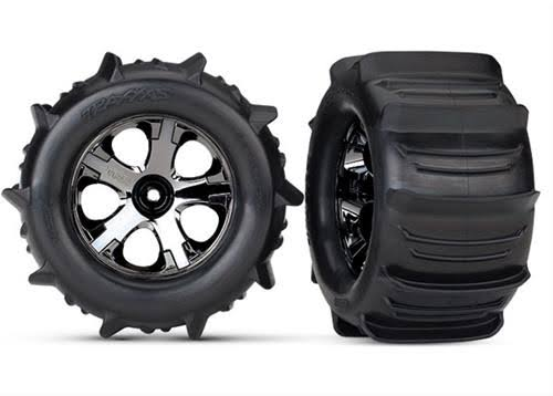 Traxxas Paddle Tires and Black Chrome Wheels for Stampede - 4x4