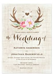 Shop Rustic Country Floral Antlers Wedding Invitations Created By WillowTreePrints