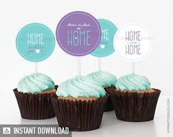 House Warming Party Cupcake Toppers Circles