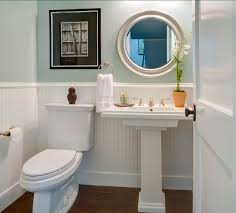 Great Pedestal Sink Powder Room Powder Room With Blue Walls