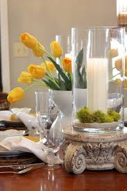 Spring Tablescape Love The Yellow Tulips Amidst Green Reindeer Moss And This