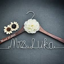 Personalized Bridal Dress Hanger Shower Gift Custom Rustic Wedding Bride Bridesmaid Maid