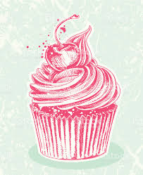 Cherry Cupcake Drawing royalty free cherry cupcake drawing stock vector art & more images