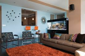 brown and blue interior color schemes for an earthy and room