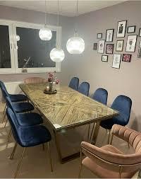 holz tisch mit glas u form beine in gold 10 stühlen