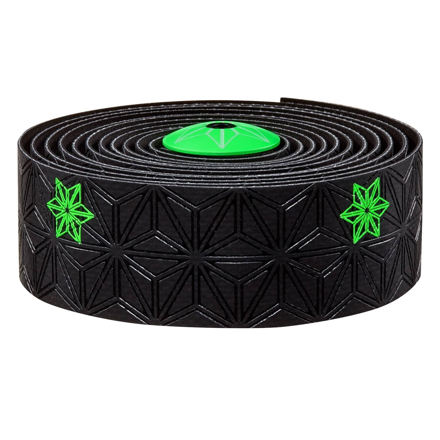 Supacaz Super Sticky Kush Print Bar Tape - Black/Neon Green, 2160mm