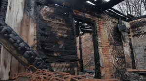 Interior Old Fire Burnt Of Burned Down Wooden House After Stock Video Footage