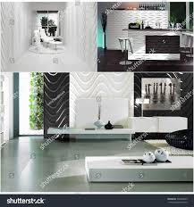 100 Minimalistic Interiors 3d Rendering Collage Three Contemporary Monochrome Stock