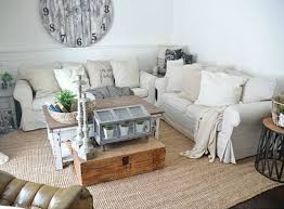 Lovely Couple Of Off White IKEA Sofas For A Rustic Living Room