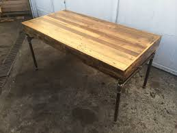 Pallet Wood Desk With Cast Iron Pipe Base