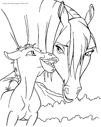 Horse With Her Foal Coloring Book Page