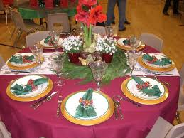 Christmas Centerpieces For Dining Room Tables by Long Dining Table Garnished With Brown Table Cloth And Green Leave