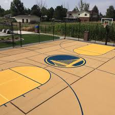 Check Out This Custom Multipurpose Court With Golden State Warriors Theme Logo
