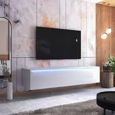 selsey skylara tv schrank modernes tv möbel für wohnzimmer minimalistisch stehend hängend 180 cm breit weiß matt weiß hochglanz mit
