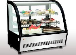 Small Curved Glass Refrigerated Bakery Display Case Countertop Mirrors Steel Base