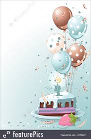 Celebration Clipart blue lustration of a Slice Birthday Cake With Balloons And Confetti