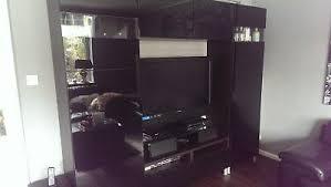besta ikea wohnzimmerwand fernsehwand schwarz hochglanz