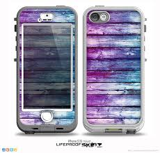 The Pink & Blue Dyed Wood Skin for the iPhone 5 5s NUUD LifeProof
