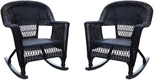 Amazon.com : 2-Piece Tiana Black Resin Wicker Outdoor Patio ... Resin Wicker Porch Rockers Easy Care Rocker Charleston Rocking Chair Camel Back Chairs Set Of Two White Summer Outdoor Belwood With Floral Cushions 3pc Cushion And End Table Faux Book Pocket Coral Coast With Khaki The Portside Plantation All Weather Tortuga