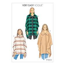 Buy Vogue V9211 Misses Loose Fitting Cape Poncho Sewing Pattern Size