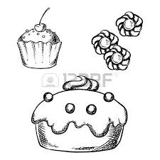 Sketch of sweet cake with glaze and cream decorations cupcake with sprinkles and cherry on