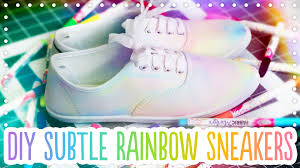 Decorating Fabric With Sharpies by Diy Subtle Rainbow Canvas Shoes Trick Your Kicks With Michaels